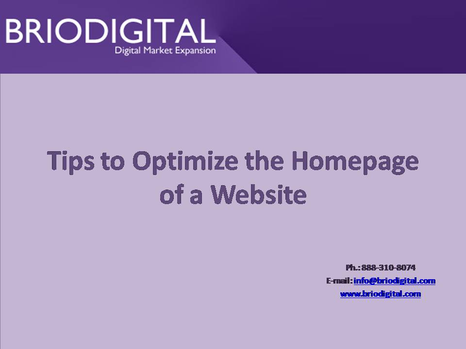 Tips to Optimize the Homepage of a Website